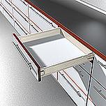 Szuflada METABOX 330M firmy Blum. Bok M=86mm, Dł.45cm, 30kg, Wysuw Pełny, Kremowa Komplet Metabox 330M zawiera prowadnice korpusu prawą i lewą oraz...