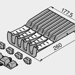 Wkład na noże ZSZ.02M0 element systemu ORGA-LINE do szuflad Tandembox Ilość przegródek na noże: 4 duże i 5 małych Kolor / Powierzchnia: RAL 7037...