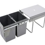 Kosz na śmieci podwójny JC602M do szafki 40 z mocowaniem frontuz prowadnicami kulkowymi pełnego wysuwu. Idealne zastosowanie do kuchni w dowolnym...