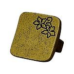 Nowoczesna gałka z motywem kwiatowym. Pokrycie galwaniczne - mosiądz patynowany, prawa