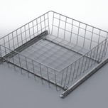 Szuflada MD wewnętrzna do szafki 50 wysokość 150mm z prowadnicami rolkowymi częściowego wysuwu Metal Lakier srebrny Szuflady do mebli są dostępne w...