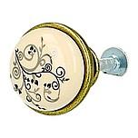 Klasyczna gałka metalowa z wierzchołkiem porcelanowym, zastosowanie kuchenne  Pokrycie galwaniczne - mosiądz antyczny Kolor porcelany - MLK-12 ...