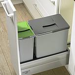 KOSZE NA ODPADY InnoFlex 300 do szafki szer. 30 cm, gł. 52 cm z tworzywa sztucznego, w kolorze szarym, pojemności koszy 18l + 8l  dedykowane: Do...