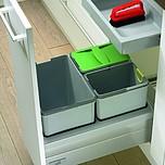 KOSZE NA ODPADY InnoFlex 450, do szafki 45 cm, gł. 52 cm, z tworzywa sztucznego,w kolorze szarym,pojemność 18l+2 x 8l, dedykowane: Do...