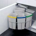 Kosz do sortowania odpadów Eko Center  Pojemność2x19l + 3x9l Do korpusu o szerokości 50cm  Szerokość 450 mm Wysokość 525 mm...