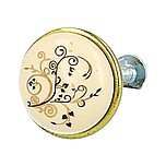Stylizowana gałka metalowa z wierzchołkiem porcelanowym, doskonała do kuchni lub łazienki.  Pokrycie galwaniczne - nikiel patynowany. Kolor porcelany -...