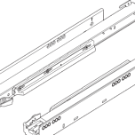750.3001T Prowadnica korpusu LEGRABOX z TIP-ON zsynchronizowany system posuwu Pełny wysuw dł.: 300 mm Obciążenie dynamiczne: 40 kg Materiał: stal Kolor /...